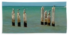Bath Towel featuring the painting Birds On Sticks by David  Van Hulst