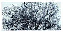 Birds On The Tree Monochrome Bath Towel