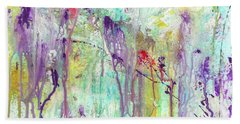 Birds On The Wire - Colorful Bright Modern Abstract Art Painting Bath Towel