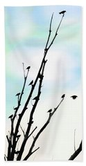 Hand Towel featuring the photograph Birds Silhouette In Tree Blue by Jennie Marie Schell