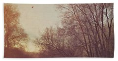 Bath Towel featuring the photograph Birds Take Flight Over Lake On A Winters Morning by Lyn Randle