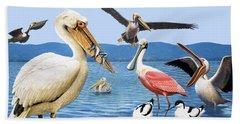 Birds With Strange Beaks Hand Towel