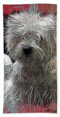 Bath Towel featuring the photograph Bishon Frise by EricaMaxine  Price