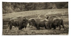Hand Towel featuring the photograph Bison 1 - Pano by Joye Ardyn Durham