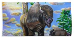 Hand Towel featuring the painting Bison Acrylic Painting by Thomas J Herring