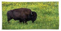 Bison Among The Wildflowers Hand Towel