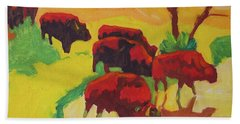 Bison Art Bison Crossing Stream Yellow Hill Painting Bertram Poole Bath Towel by Thomas Bertram POOLE