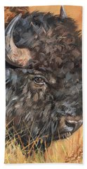 Bison Hand Towel by David Stribbling