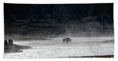 Bison In The River Hand Towel