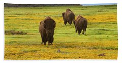 Bison In Wildflowers Bath Towel
