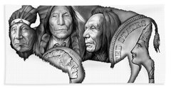 Bison Indian Montage 2 Hand Towel by Greg Joens