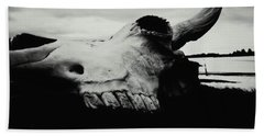 Bison Skull Black White Hand Towel