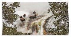 Bison Taking A Steam Bath Hand Towel