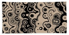 Bath Towel featuring the digital art Black And Beige Targets And Lines by Joy McKenzie