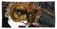 Black And Gold Carnival Mask Hand Towel