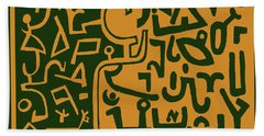 Hand Towel featuring the digital art Black And Orange Klee by Vagabond Folk Art - Virginia Vivier