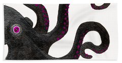 Black And Purple Octopus Hand Towel