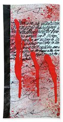 Bath Towel featuring the painting Black And Red 8 by Nancy Merkle