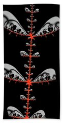 Bath Towel featuring the digital art Black And Red Abstract Fractal by Matthias Hauser