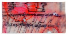 Hand Towel featuring the painting Black And Red Encaustic 3 by Nancy Merkle