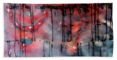Bath Towel featuring the painting Black And Red Encaustic 4 by Nancy Merkle
