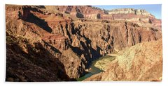 Black And Silver Bridges Spanning The Colorado River  Grand Canyon National Park Bath Towel
