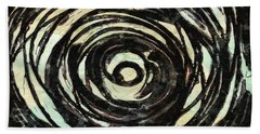 Hand Towel featuring the painting Black And White Abstract Curves by Joan Reese