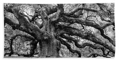 Black And White Angel Oak Tree Hand Towel