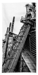 Black And White - Bethlehem Steel Mill Bath Towel by Bill Cannon