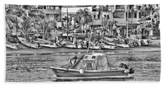 Bath Towel featuring the photograph Black And White Boat by Jim Walls PhotoArtist