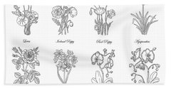 Black And White Botanical Flowers Drawing Hand Towel