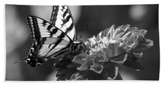 Black And White Butterfly On Zinnia Hand Towel by Jim And Emily Bush