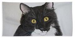 Black And White Cat Bath Sheet by Megan Cohen