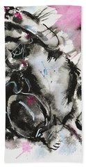 Hand Towel featuring the painting Black And White Cat Sleeping by Zaira Dzhaubaeva