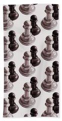Black And White Chess Pawns Pattern Bath Towel