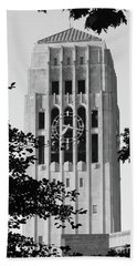 Black And White Clock Tower Hand Towel
