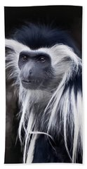 Black And White Colobus Monkey Hand Towel by Penny Lisowski