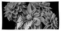 Black And White Dahlias And Butterfly Hand Towel
