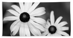 Bath Towel featuring the photograph Black And White Daisy by Christina Rollo