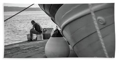 Black And White - Fisherman Cleaning Fish On Docks Of Kastel Gomilica, Split Croatia Bath Towel