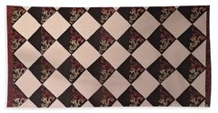 Black And White Checkered Floor Cloth Hand Towel by Judith Espinoza