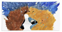 Romantic Kissing With Stars In Their Hair Hand Towel