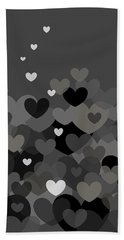 Black And White Heart Abstract Bath Towel