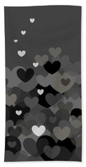 Black And White Heart Abstract Bath Towel by Val Arie