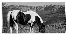Black And White Horse Grazing In Wyoming In Black And White  Bath Towel