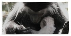 Black And White Image Of Colobus Monkeys Bath Towel