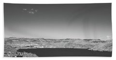 Black And White Landscape Photo Of Dry Glacia Ancian Rock Desert Bath Towel by Jingjits Photography