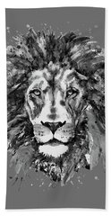Hand Towel featuring the mixed media Black And White Lion Head  by Marian Voicu