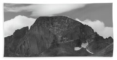 Bath Towel featuring the photograph Black And White Longs Peak Detail by Dan Sproul