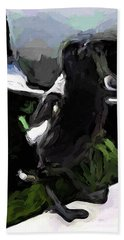 Black And White Magpie On The Porch Hand Towel